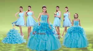 Pick Ups And Embriodery Baby Blue Quinceanera Dress And Ruching Short Dama Dress And Embroidery Ba