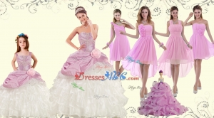 Elegant Ruffles Multi Color Quinceanera Dress And Pink Short Dama Dress And Straps Ruffles Li