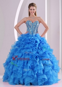 Ruffles And Beaded Decorate Sweetheart Long Quinceanera Dress With Lace Up
