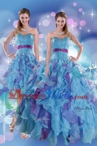 Pretty Multi Color Quince Dress With Ruffles And Beading