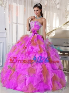 Ball Gown Sweetheart Organza Long Quinceanera Dress witih Appliques