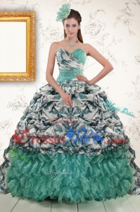 Exquisite Turquoise Sweep Train Quinceanera Dress With Beading And Picks Ups