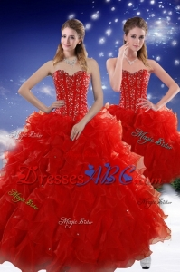 Perfect Red Sweet 15 Dress With Beading And Ruffles