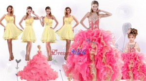 Perfect Beading And Ruffles Quinceanera Dress And Beading Yellow One Shoulder Dama Dress And Multi