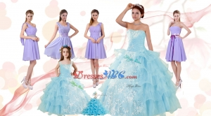 Strapless Ruffles Elegant Quinceanera Dress and Lavender Mini Length Prom Dress and Appliques and Ru