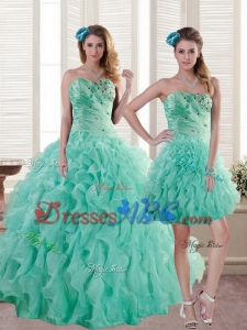 Newest Aqua Blue Quince Dress With Beading And Ruffles