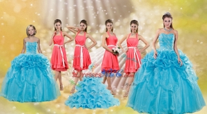 Pick Ups Floor Length Baby Blue Quinceanera Dress And Watermelon Halter Top Sash Dama Dress And Pr
