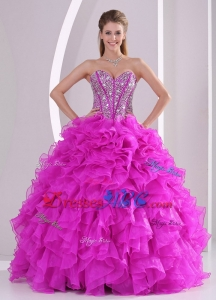 Unique Ruffles And Beading Sweetheart Floor-length Quinceanera Gowns Summer