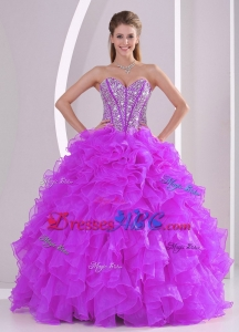 Winter Sweetheart Ruffles And Beading Long Quinceanera Gowns In Fuchsia