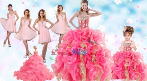 Multi Color Floor Length Ruffles Quinceanera Dress And Baby Pink Short Beading Dama Dress And Floo