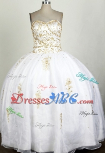 Popular Ball Gown Sweetheart Floor-length White Quinceanera Dress