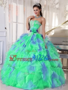 Green and Blue Sweetehart Ruffles and AppliquesQuinceanera Dress