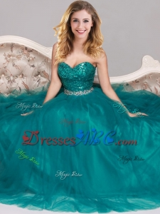 New Arrivals Sequined Empire Tulle Prom Dress in Teal