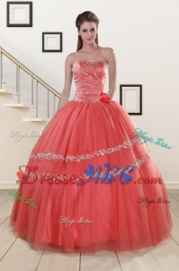 New Style Beaded Watermelon Quinceanera Dress