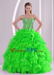 Ball Gown Ruffles And Beading Winter Quinceanera Dress With Lace Up
