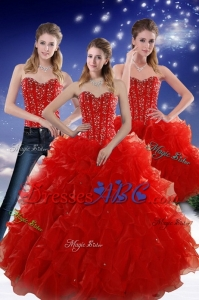 Perfect Red Sweetheart Quince Dress With Beading And Ruffles