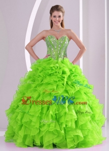 Beading Ball Gown Sweetheart Green Quinceanera Gowns Summer