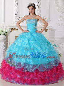 Aqua Blue and Hot Pink Ball Gown Strapless Floor-length Organza Appliques Quinceanera Dress
