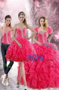 Pretty Hot Pink Sweetheart Sweet 15 Dress With Beading And Ruffles
