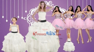Strapless Beading White Quinceanera Dress And Baby Pink Sweetheart Short Prom Dress And White Stra