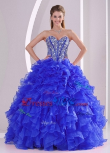 Ball Gown Sweetheart Blue Quinceanera Gowns With Ruffles And Beading