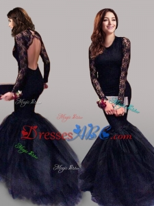 See Through Scoop Long Sleeves Mermaid Prom Dress with Lace