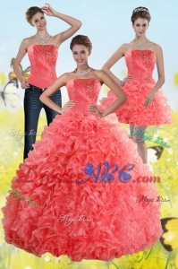 Inexpensive Watermelon Sweet 15 Dress With Beading And Ruffles