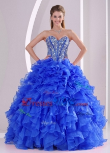 Royal Blue Sweetheart Ruffles And Beaded Decorate Quinceanera Dress On Sale