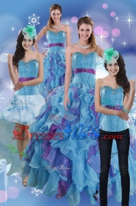 Pretty Multi Color Dress For Quince With Ruffles And Beading