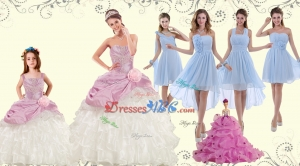 Elegant Multi Color Strapless Hand Made Flower Quinceanera Dress And Ruching Pretty Prom Dress And