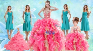Beading Multi Color Ball Gown Quinceanera Dress And Ruching Knee Length Dama Dress And Ruffles Spa