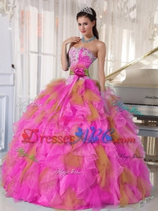 Strapless Multi-color Quinceanera Dress with Appliques and Beading