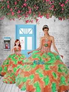Exclusive Orange And Red Princesita Dress With Appliques And Ruffles