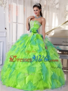 Sweetehart Organza Quinceanera Dress With Appliques And Ruffles