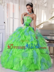 Spring Green and Blue Organza Appliques and Ruffles Quinceanera Dress