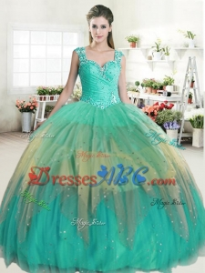 Popular Straps Rainbow Quinceanera Dress with Beading and Ruffled Layers