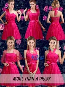 Affordable A Line Ruching Side Zipper Dama Dresses in Hot Pink