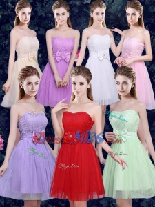 2016 Elegant Sweetheart Bowknot and Laced Short Dama Dresses in Tulle