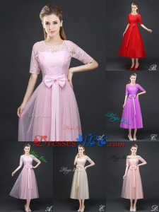 Popular Tea Length Dama Dress with Lace Half Sleeves and Bowknot