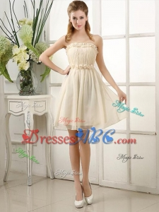 Champagne Knee-length Hand Made Flowers Dama Dress with Strapless