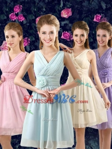 V Neck Chiffon Short Dama Dresses with Hand Made Flower on Waist