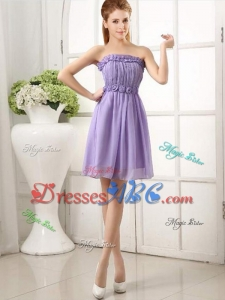 Fashionable Strapless Knee-length Hand Made Flowers Dama Dress for Quinceanera