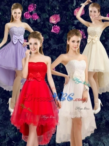 Gorgeous High-low Sweetheart Dama Dresses with Bowknot and Lace