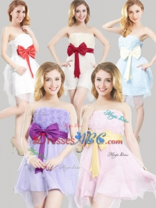 2016 Affordable Strapless Uneven Short Bottom Dama Dresses with Bowknot