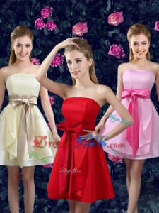 2017 Popular Strapless Dama Dresses with Bowknot