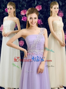 Discount One Shoulder Ankle Length Bridesmaid Dress with Appliques