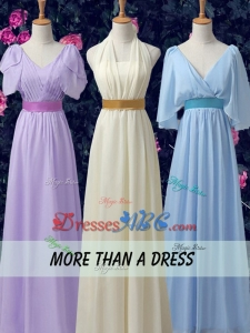 Exclusive Empire Chiffon V Neck Dama Dresses with Belt and Ruching
