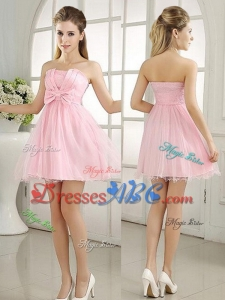 Chic Baby Pink Mini-length Dama Dress with Bowknot