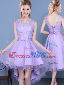 Lovely See Through Scoop High Low Laced and Bowknot Dama Dress in Lavender