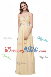 Simple Empire Sweetheart Chiffon Applique and Beaded Long Prom Dresses for Graduation
